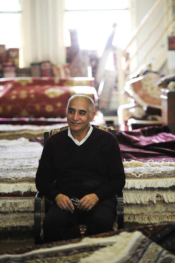 Ghiyasunden Sadr, who owns H.E.S. Oriental Rugs, is originally from Afghanistan. He collects rugs from around the world, from his home country to China to Iran.