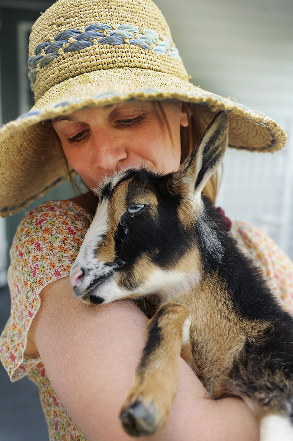 Kathleen Mullins gives kisses to kid Callie at her dairy goat farm, A Better Way Farm, on Tuesday, May 28, 2013, in Waynesboro. Mullins, who practices permaculture, said she and the goat have a special bond because she nursed her back to health when she was sick.
