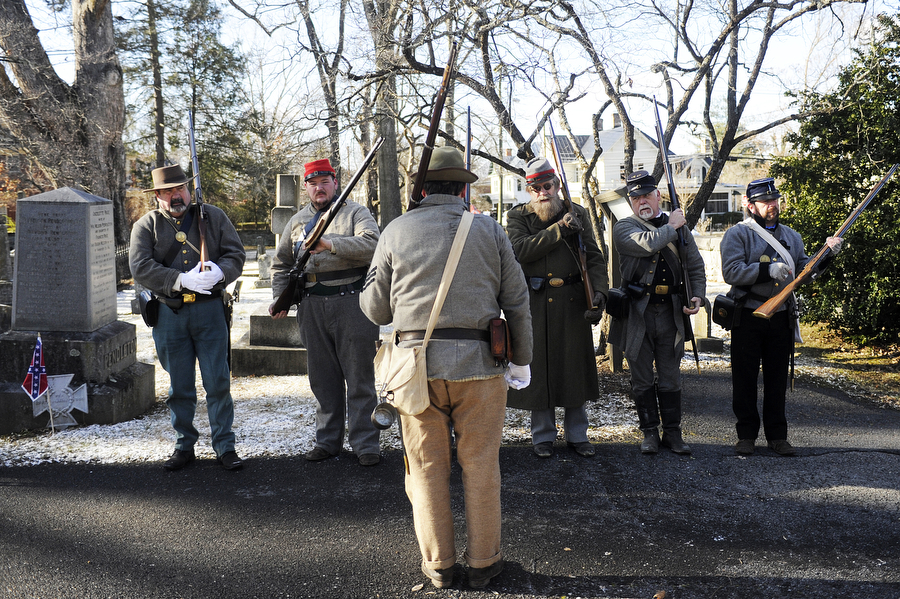 Members of the 5th Virginia Infantry practice before the Lee-Jackson Day events at Stonewall Jackson Memorial Cemetery on Saturday, Jan. 18, 2014, in Lexington. The day celebrates the birthdays of Robert E. Lee (Jan. 19) and Stonewall Jackson (Jan. 21).