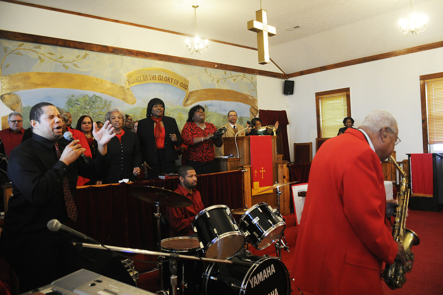 The gospel choir and band perform during a celebration and dedication of Dr. Martin Luther King, Jr's life at the St. James Baptist Church on Sunday, Jan. 19, 2014, in Waynesboro. This is the 26th year the celebration has been held, organized by the Waynesboro chapter of the NAACP.