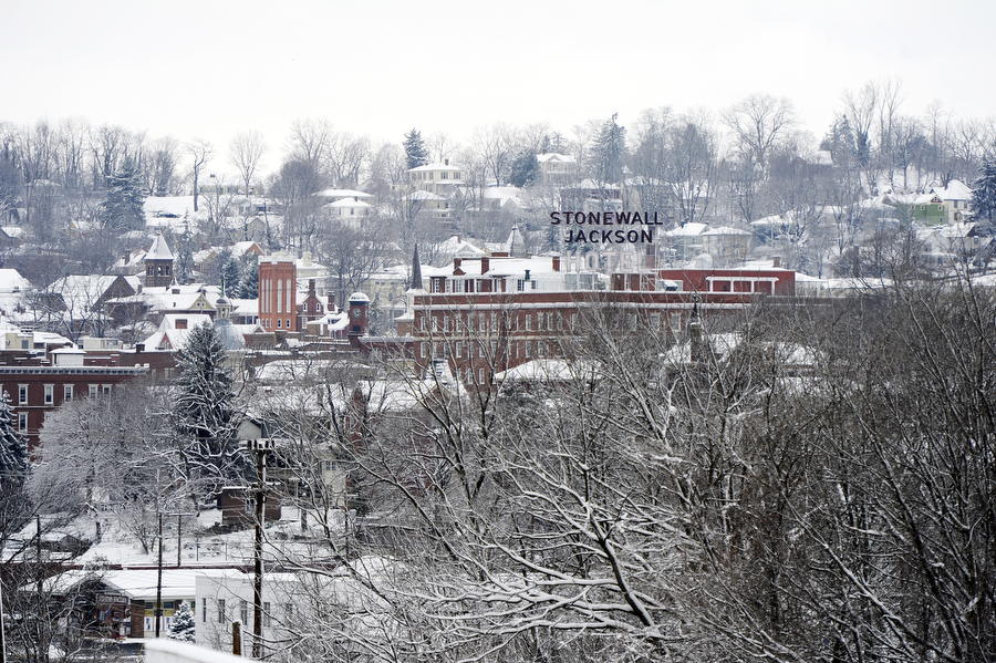 Snow covers the Stonewall Jackson Hotel and downtown Staunton on Monday, March 17, 2014, in Staunton.