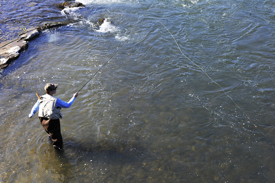 Joe Kulesza of Marlboro, Md. casts his line in the South River during the Waynesboro One Fly Fishing Tournament on Saturday, April 26, 2014, near Constitution Park in Waynesboro. The tournament was put together by the Shenandoah Valley chapter of Trout Unlimited and competitors could earn over $1000 in prize money.