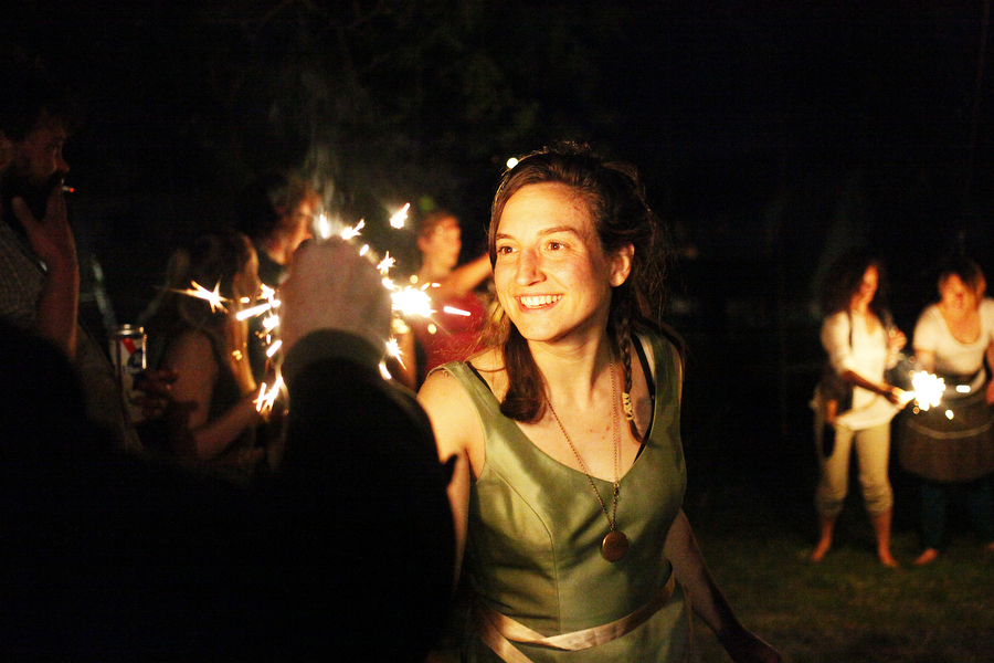 Anne Paulus lights sparklers during her Lord of the Rings-themed birthday party in Staunton.