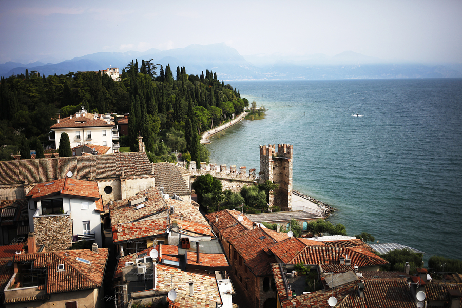 A view of Sirmione and Lake Garda from the south can be seen from a castle guarding the city.