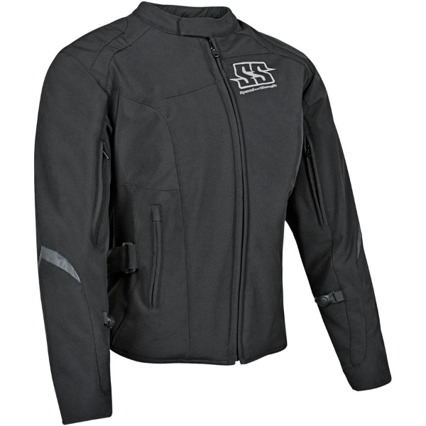 The Speed and Strength® Hammer Down™ textile motorcycle jacket has an AR500 super stretch-fit frame and features removable Vault™ C.E. approved shoulder, elbow and spine protectors.