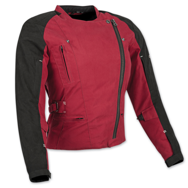 The Speed and Strength® Tough Love™ women's textile motorcycle jacket features a water resistant AR-700 frame with reflective trim and removable Vault™ C.E. approved shoulder, elbow and spine protectors.