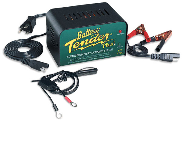 The Battery Tender® Plus is a 1.25 amp battery charger designed to fully charge a battery and maintain it at proper storage voltage without the damaging effects caused by trickle chargers. Included is a quick connect ring terminal harness for hard to reach areas and alligator clips for an alternate connection .