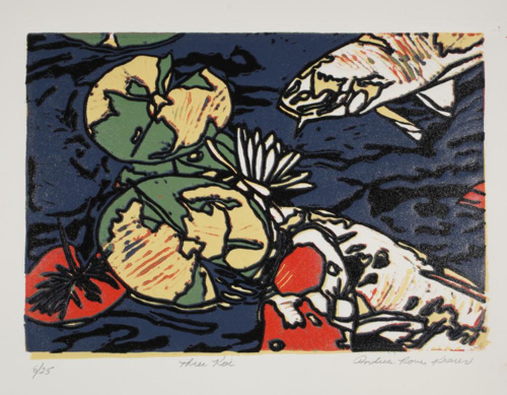 "Three Koi   Linoprint/collage  9"" x 12"""