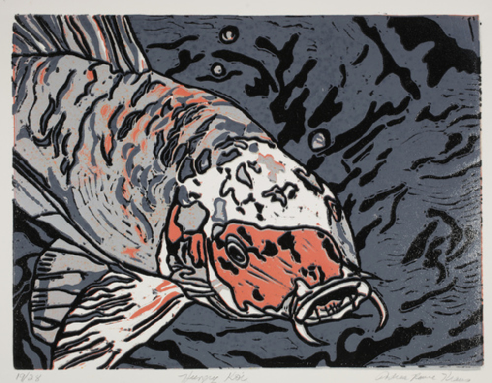 "Hungry Koi   Linoprint/collage  9"" x 12"""