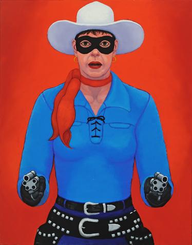 "Greeting My Inner Lone Ranger.Oil on canvas. 28"" x 22"""