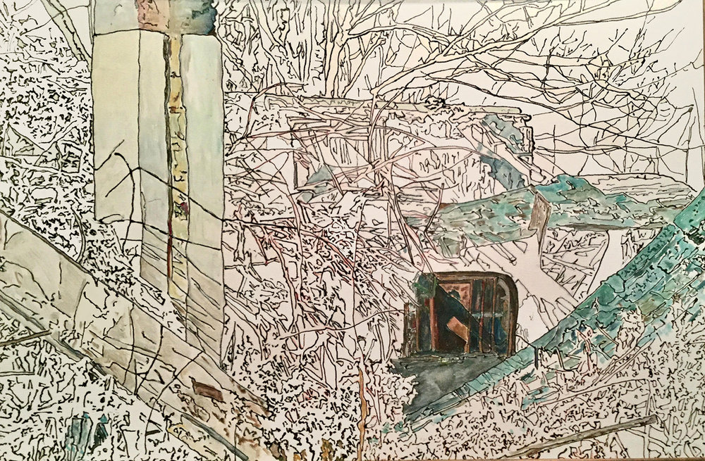"""What Remains of the House. Mixed Media. 36"""" x 24"""". 2016"""
