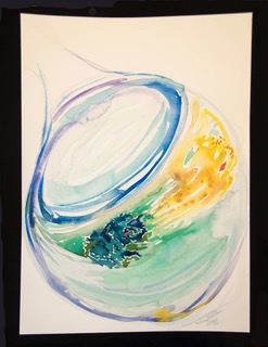 "Asterope. Watercolor on Fabrianio. 22"" x 15"". 2016"