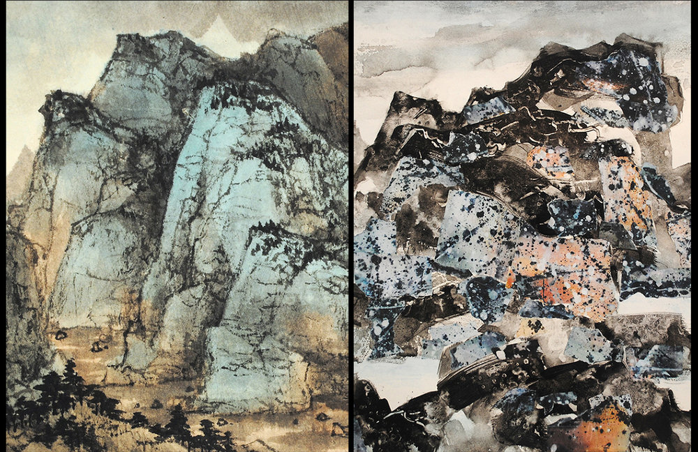 "Freda Lee-McCann, Peaceful Mountains (15""x18"") & Storm Approaching (18""x18"") ,  Ink & Watercolor, Mixed media, 2017"