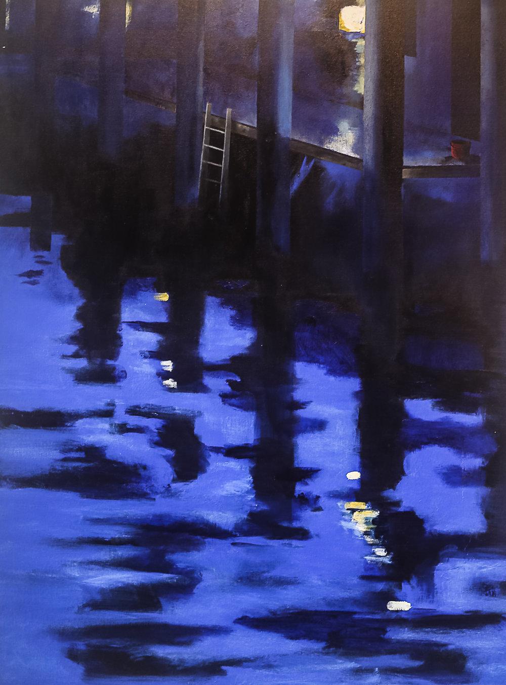 blue dock scene