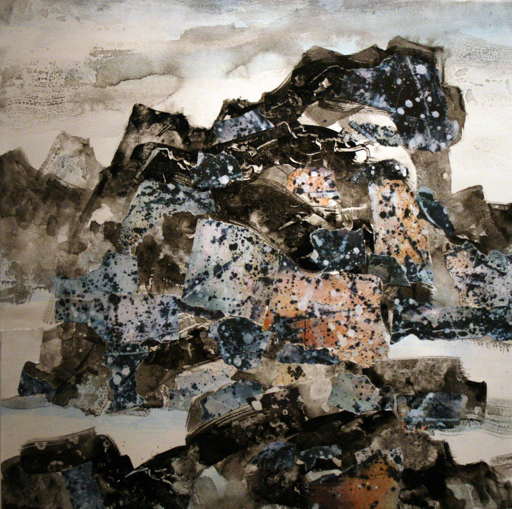 """Storm Approaches   Freda Lee-McCann  Mixed Media  18"""" x 18""""  $650   Click here to inquire."""