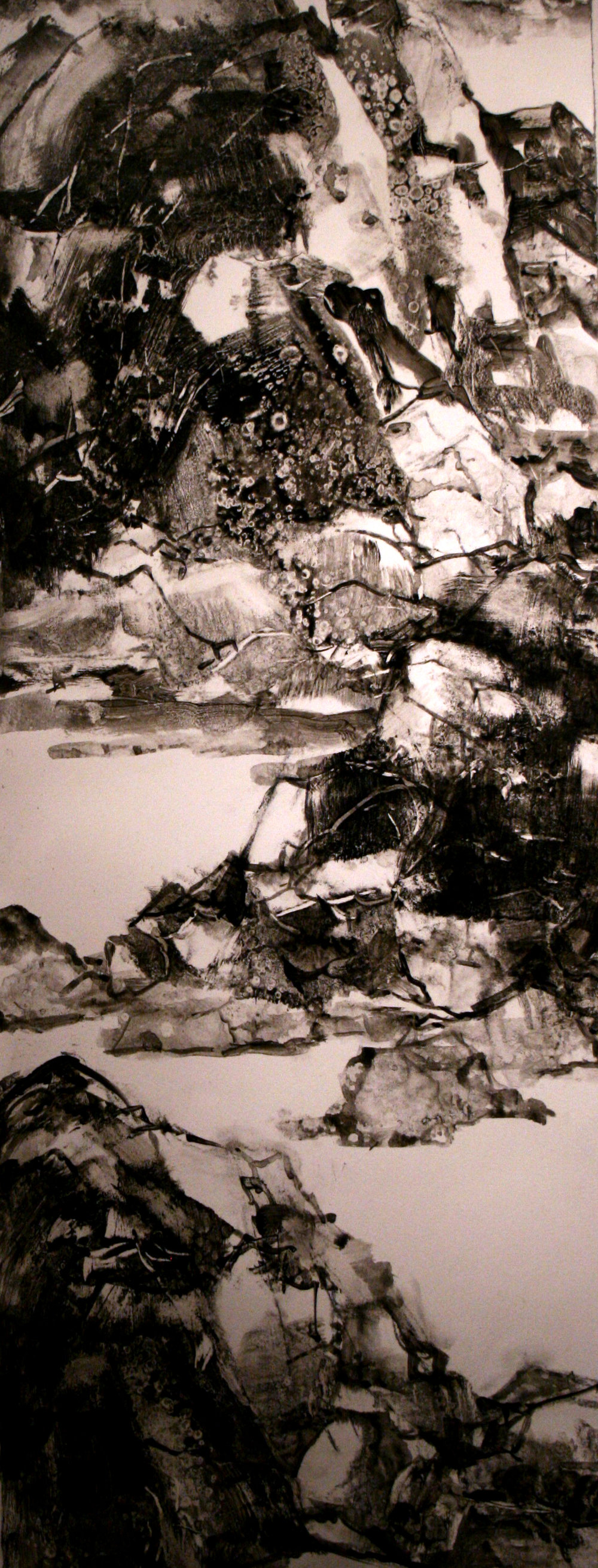 """Not Quite Peaceful   Freda Lee-McCann  Acrylic on Paper  30"""" x 11""""  $650   Click here to inquire."""