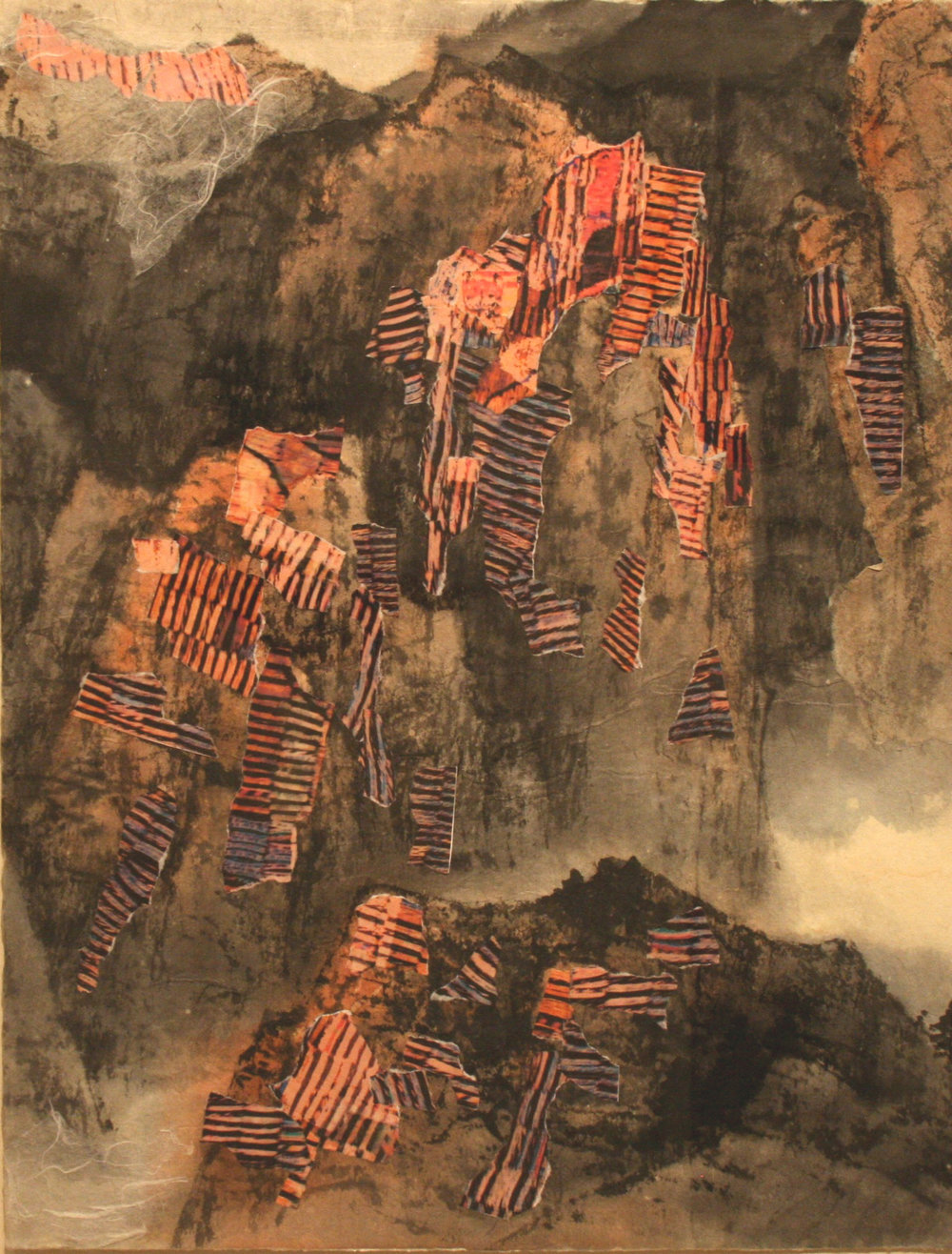 """Unsettled   Freda Lee-McCann  Mixed Media  15"""" x 11""""  $375   Click here to inquire."""