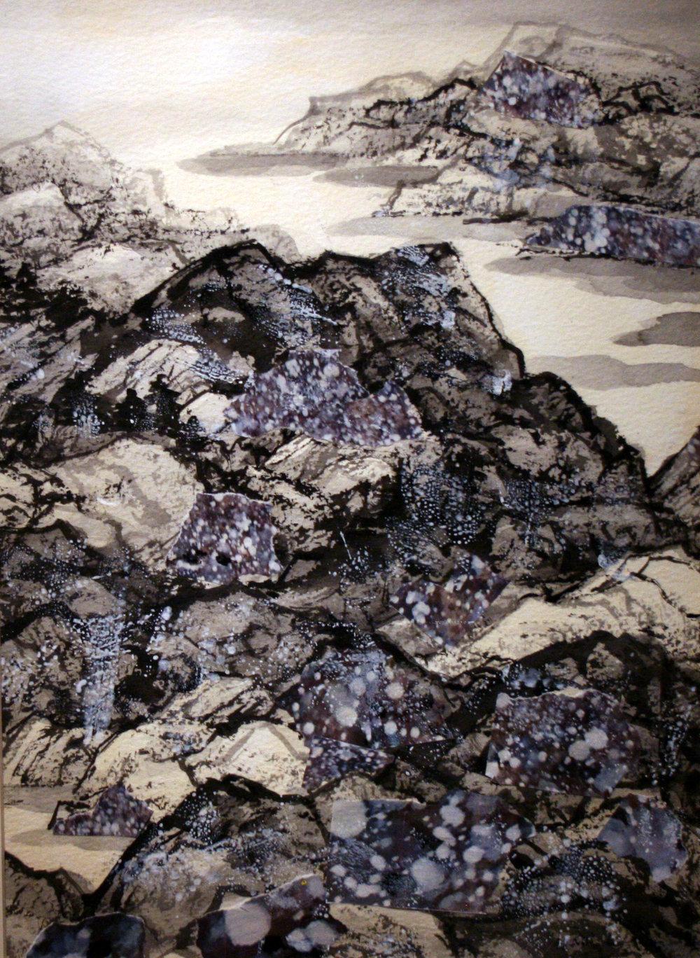 "The Depth of Winter   Freda Lee-McCann  Mixed Media  15"" x 11""  SOLD"