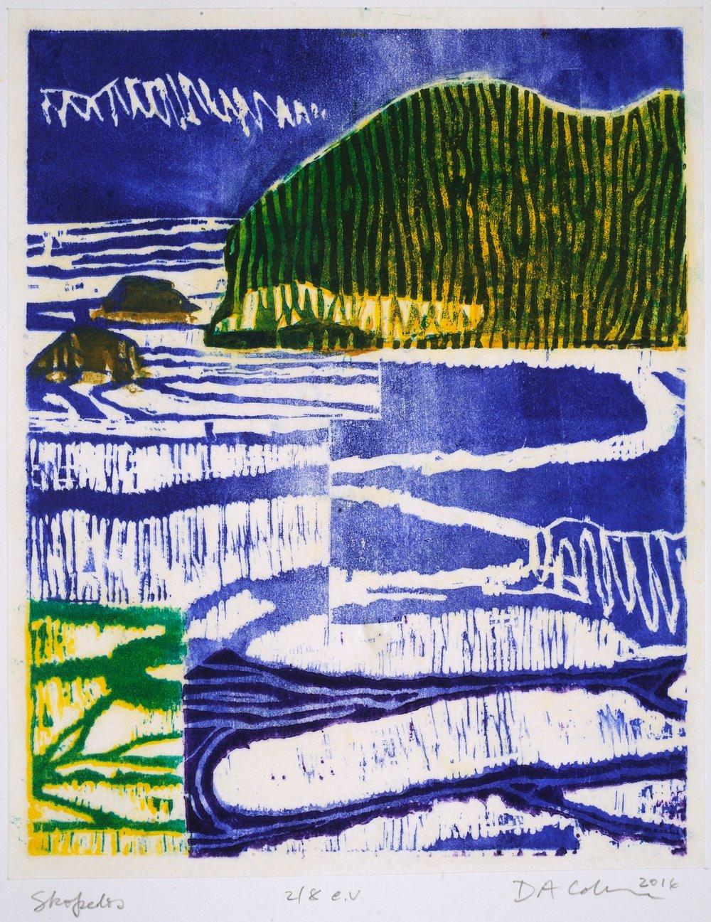 "Skopelos   Deborah Addison Coburn  Woodblock Print  19"" x 24""  $350   Click here to Inquire"