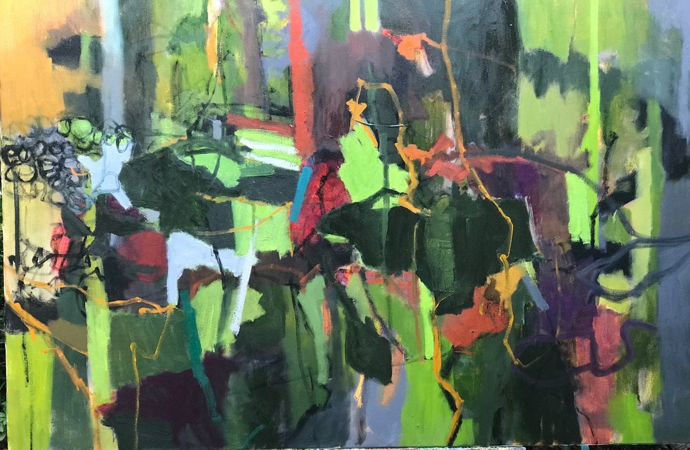 "Shadowland   Joyce Mccarten  Oil  48"" x 32""  $2,500   Click here to Inquire"