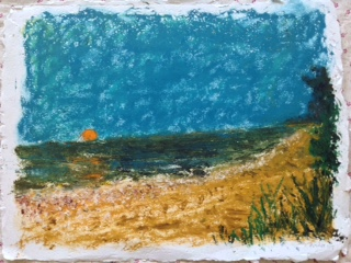 "Sinking Sun (Sanibel)   Gordon Binder  Oil on handmade Egyptian Paper, Deckled Edge  11.5"" x 15.5""  $585   Click here to Inquire"