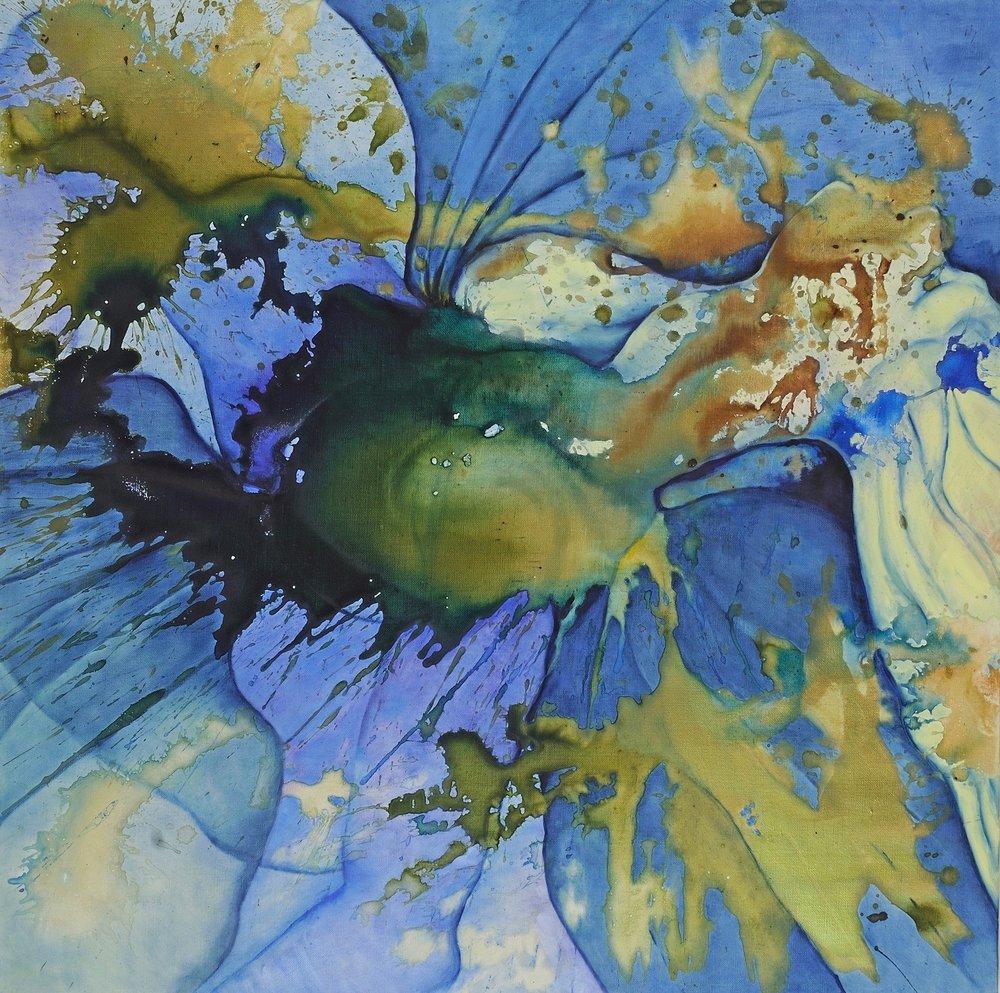 """THROAT/DELPHINIUM   Micheline Klagsbrun  Oil on Canvas  30"""" x 30""""  $2,500   Click here to Inquire"""