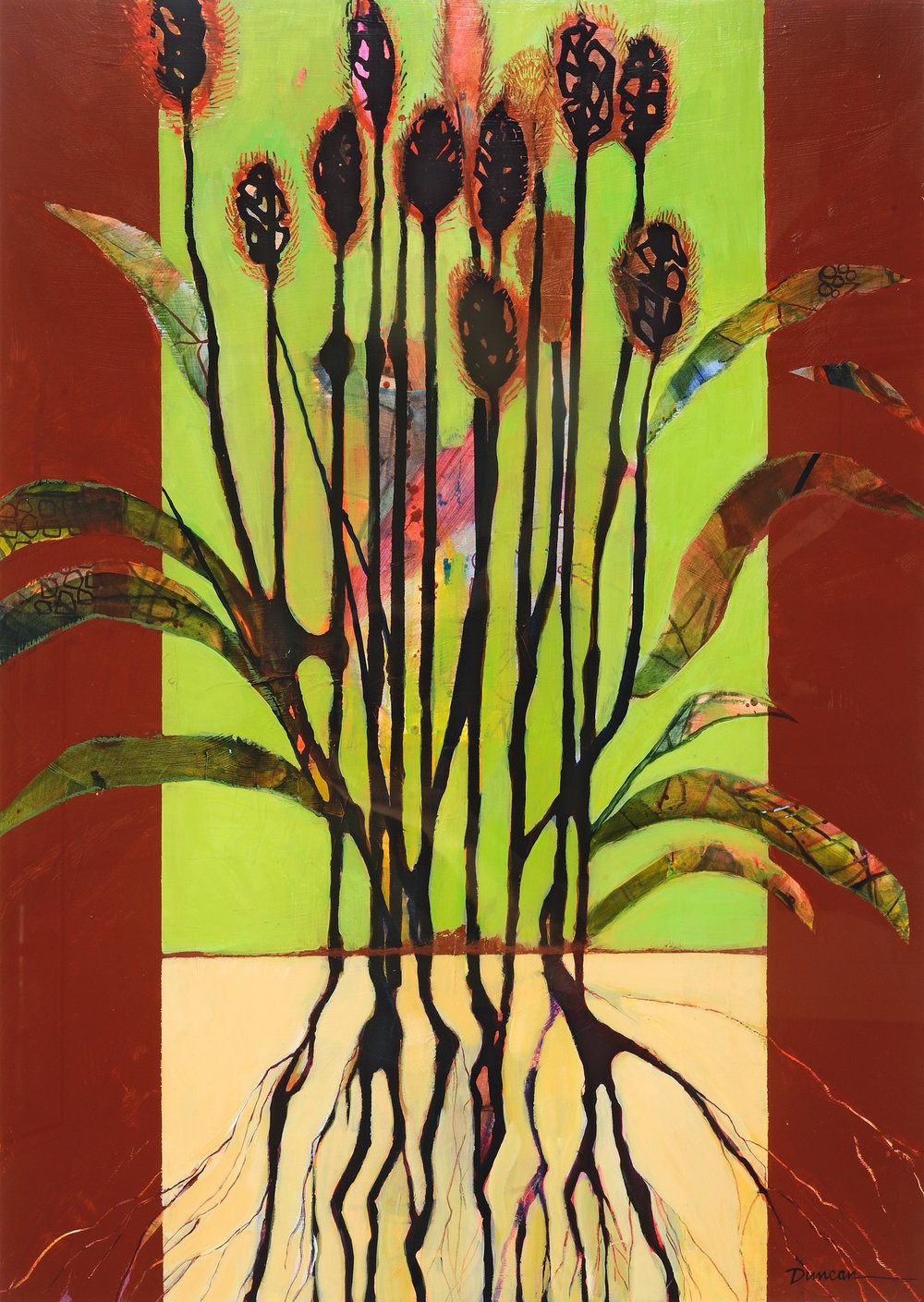 "Teasel   Jennifer Duncan  Acrylic on Paper  30"" x 22""  $700   Click here to Inquire"