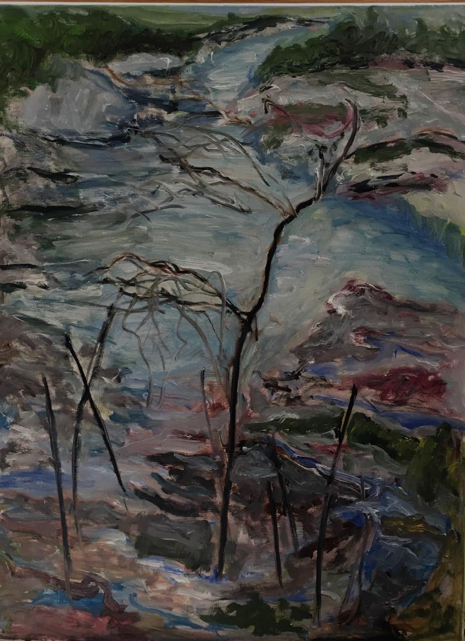 "9 Maine River   Suzanne Goldberg  Oil on Canvas  18"" x 24""  $1,000   Click here to Inquire"