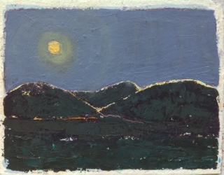 "Moonlight, Outside Aspen, Colorado   Gordon Binder  Oil on Paper  9.5"" x 12""  $385   Click here to Inquire"