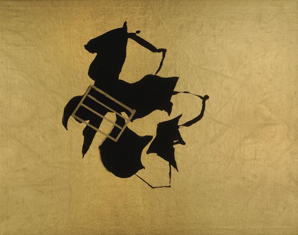 "Hoyas Doradas #2   Acrylic on gold lamé  10"" x 12""  $350   Click here to inquire."