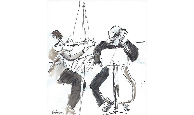 "Jerusalem Trio - AD82.  Ink on Paper, 3.25"" x 6"", 2005."