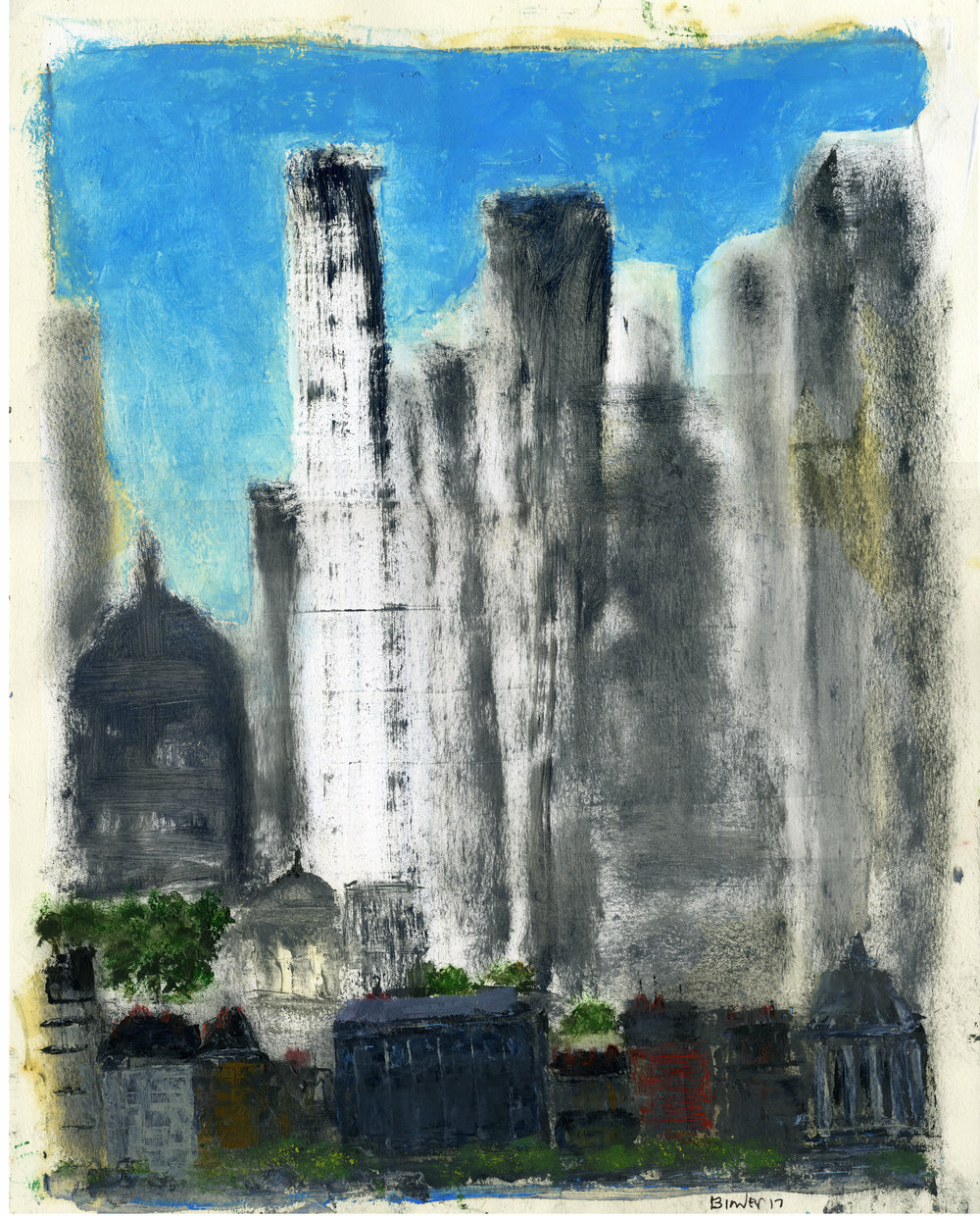 "Towering   Gordon Binder  Oil on Paper  14"" x 11""  $585   Click here to Inquire"