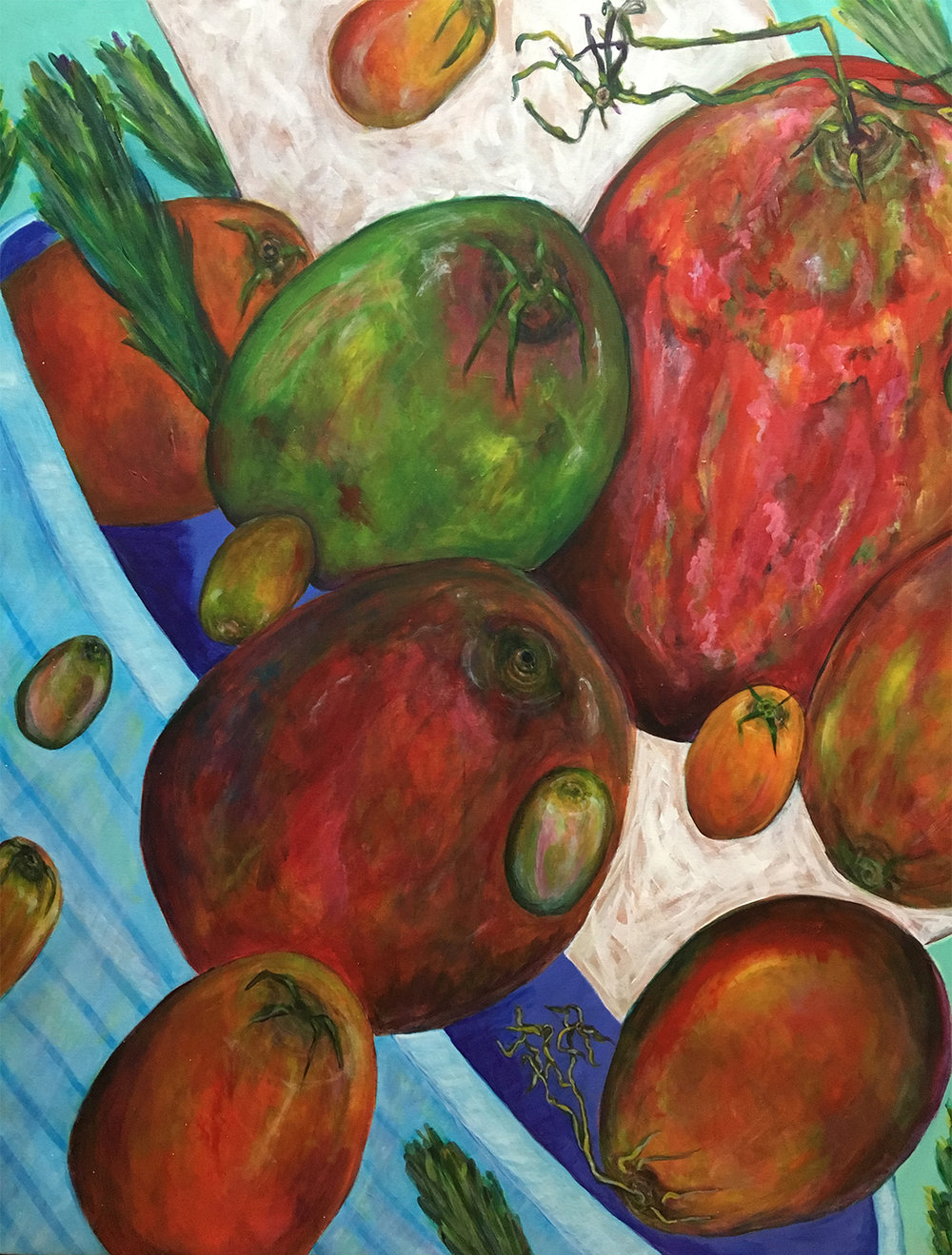 "Tomatoes 1. Acrylic on canvas. 46"" x  46"""