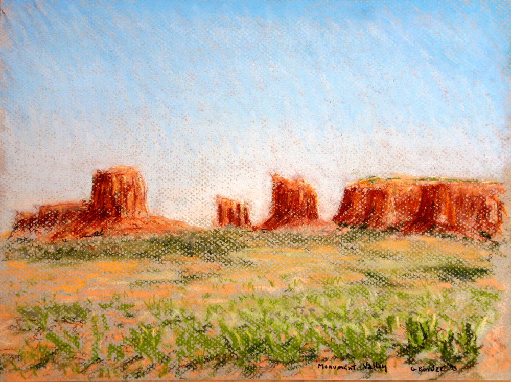 "Monument Valley, pastel on peach colored paper, 9"" x 12"", 1993, $325.  Contact us for inquiries."