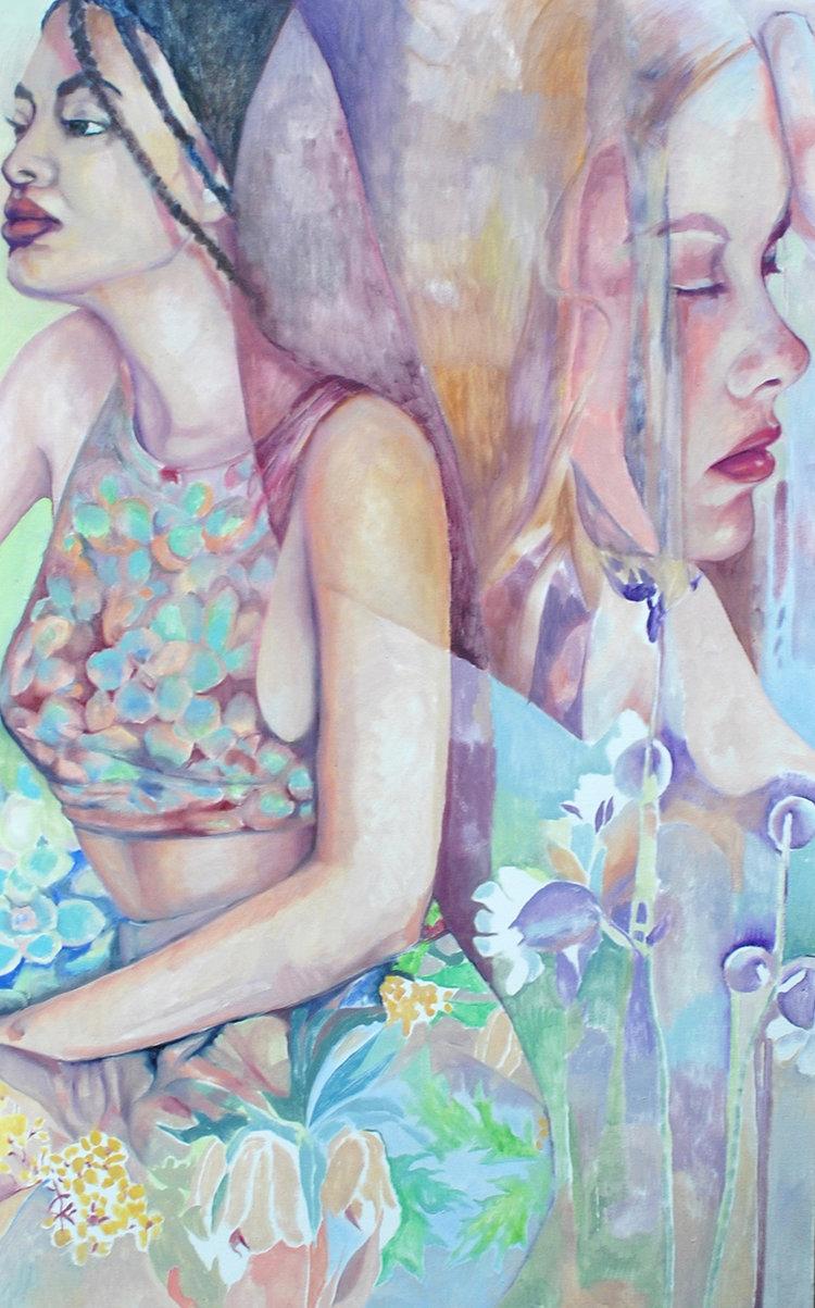 "Growing , Nicole Ida Fossi. Oil on canvas, 36"" x 48"". 2016."