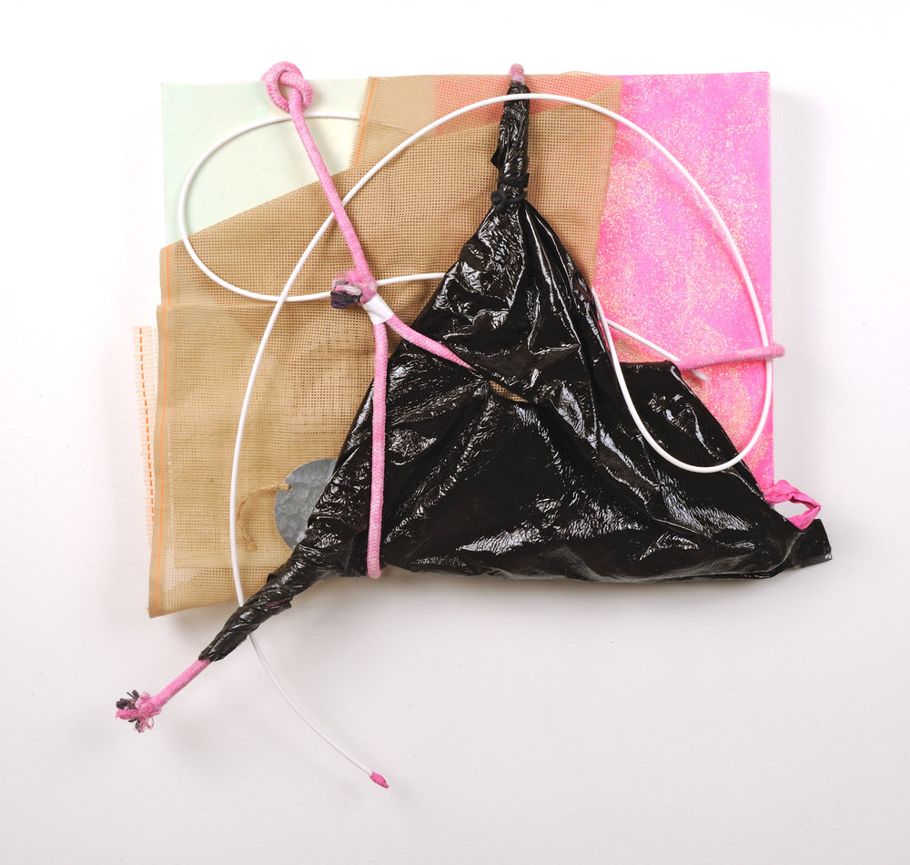 "Lambskin   Jean Jinho Kim  Acrylic, leather, canvas board, rope, plastic, fabric, tin, duct tape, canvas  24"" x 23"" x 4""  $3,200   Click here to Inquire"