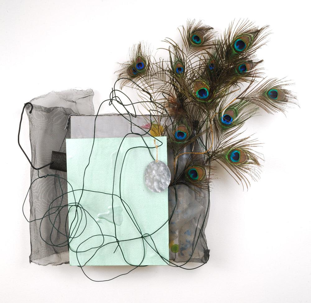 "Peacock Peacock   Jean Jinho Kim  Acrylic, feather, canvas board, wire, foam, wire mesh, tin, rubber tie, plastic canvas  29"" x 30"" x 8""  PRICE   Click here to Inquire"