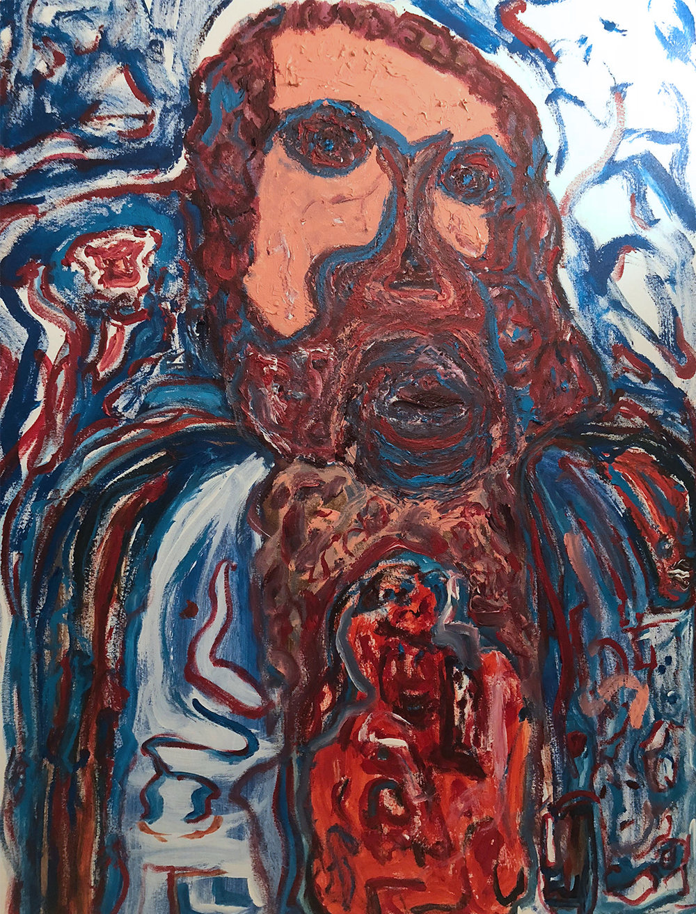Yvette Kraft.  The Very Charitable Mr. Link . Acrylic on Canvas. 36 in x 48 in. 2017