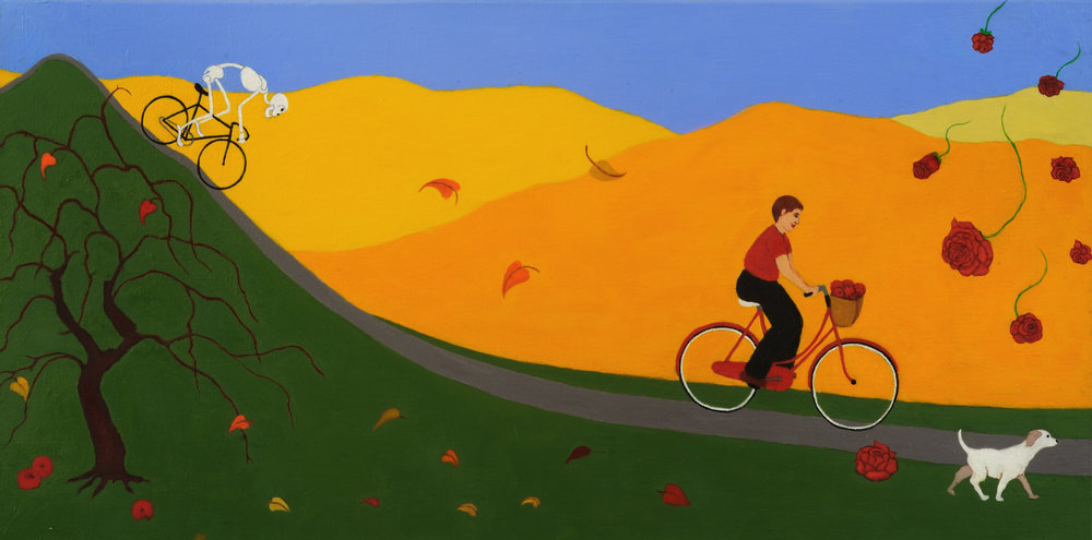 """Cycle of Life: Autumn   Miriam Keeler  Oil on Canvas  30"""" x 15""""  $400 ($1500 for set of 4)   Click here to Inquire"""