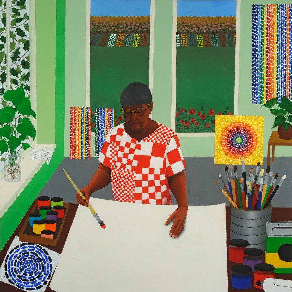 """Homage to Alma Thomas   Miriam Keeler  Oil on Canvas  36"""" x 36""""  SOLD"""
