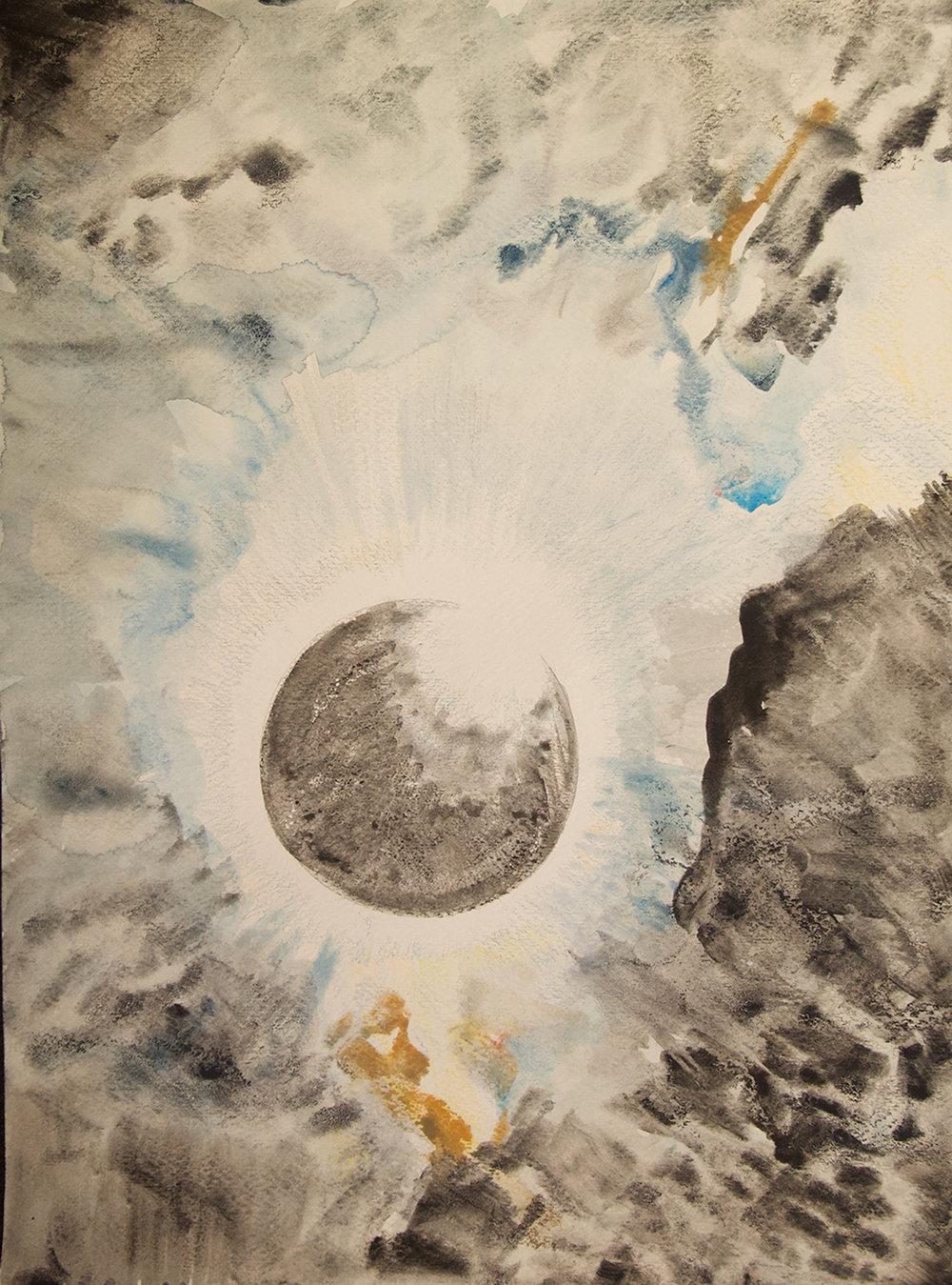 "Diamond Ring, Receding   Watercolor, crayon, pencil on Arches  22"" x 28""  SOLD"