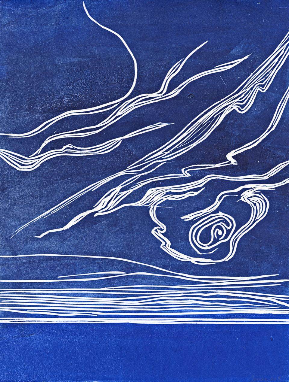 """Cirrus Wisps   Sintra-carved print on American Printmaking Paper  9"""" x 12""""  $350  (Framed)   Click here to inquire"""