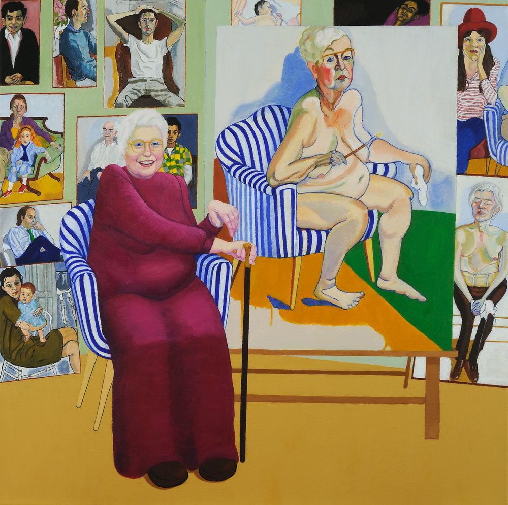 """Homage to Alice Neel   Miriam Keeler  Oil on Canvas  36"""" x 36""""  SOLD   Click here to Inquire"""