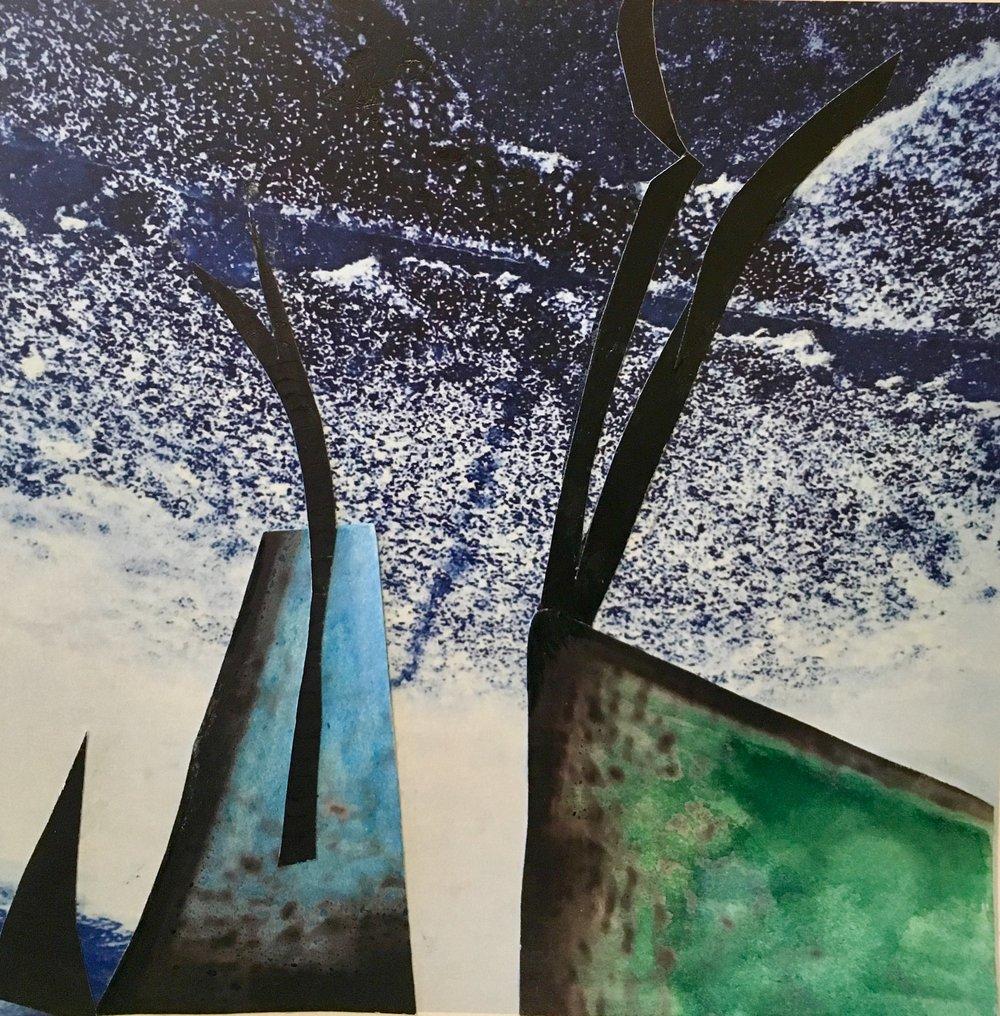 "Winter Bird,mixed media on archival pigment print.8 1/2 x 11"" (Unframed),$350.  Inquire."