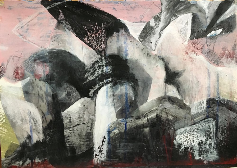 """Pink Sky. Mixed Media on Paper, 12"""" x 17"""" (Framed). $675.  Inquire."""