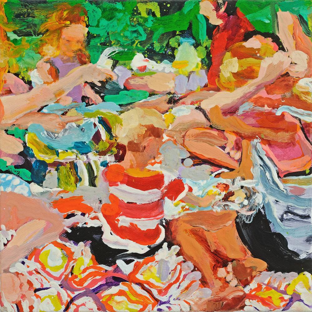 "Picnic   Oil on canvas  8"" x 8""  $400   Click here to inquire."