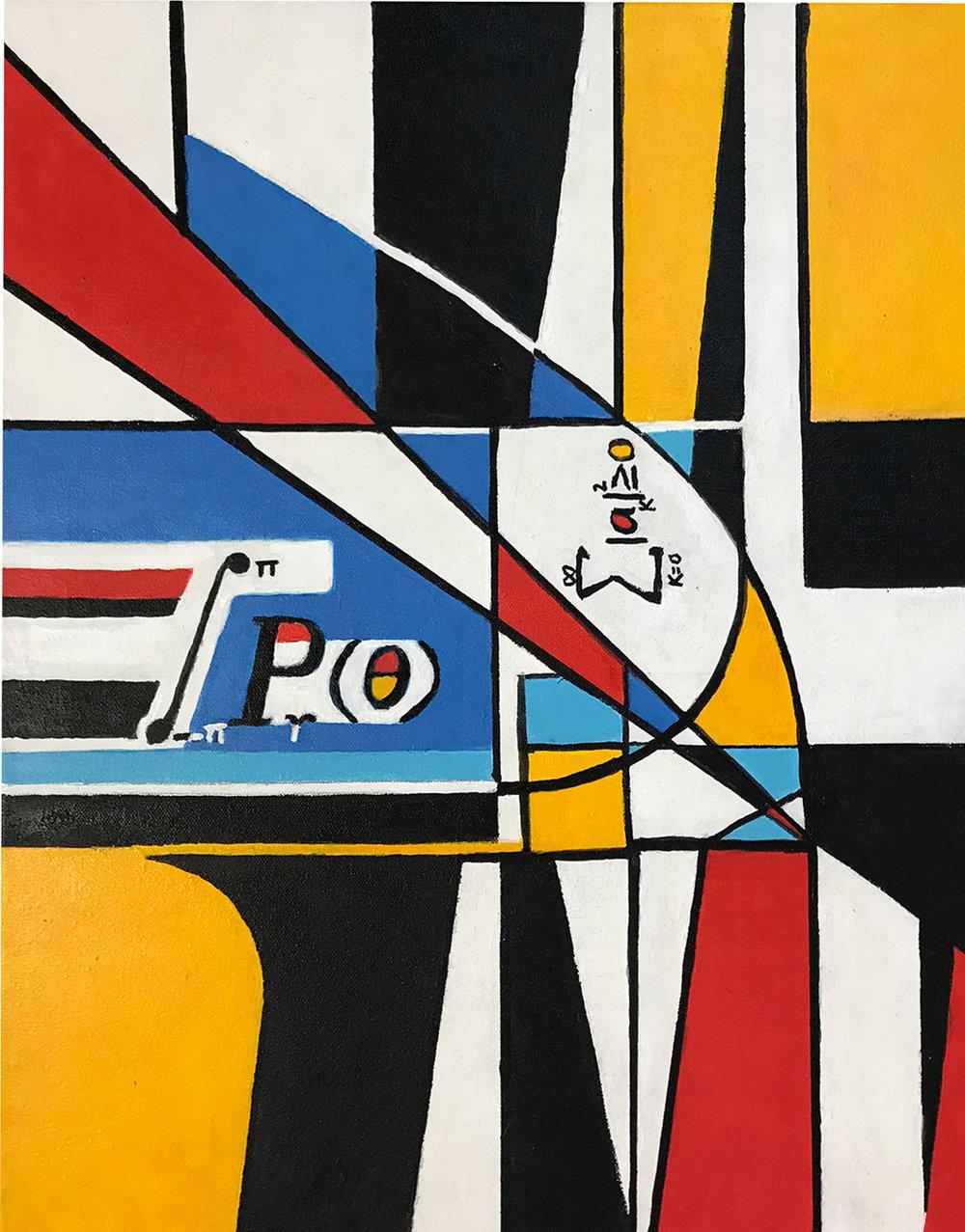 "Freda Lee-McCann.   Mondrian's Math Homework. Acrylics. 20""x16"". 2018"