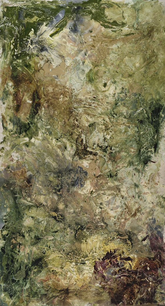 """Ubud #1   Latex and Oil on canvas  34"""" x 62""""  $800   Click to Inquire"""