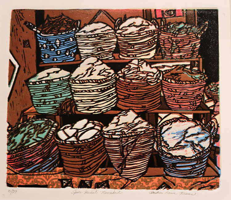 "Spice Baskets - Marrakesh , by Andrea Rowe Kraus. Linoprint. 19"" x 21"". $450.  Buy it."
