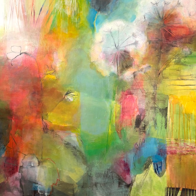 """Jennifer Duncan   Acrylic and graphite on panel  36""""x36""""  $1,600   Click here to Inquire"""